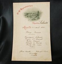 CGT FRENCH LINE Paquebot LABRADOR Menu April 23 1893