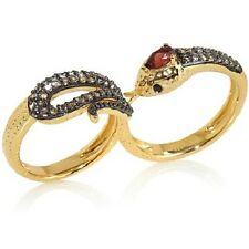 "RARITIES CAROL BRODIE RED & BLACK GARNET & TOPAZ 2-FINGER ""SNAKE"" RING SZ 7 HSN"