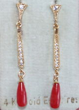EXCUISITE 14K /SS 45MM UNDYED OX RED ITALIAN STUD CORAL TEAR DROP EARRINGS BBB