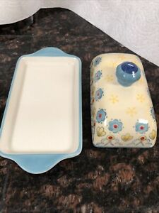 DUTCH WAX HAND PAINTED CERAMIC BUTTER DISH with LID FLORAL DESIGN