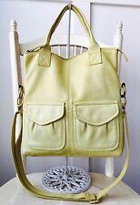 FOSSIL Cute Lemon Lime Leather Cargo Foldover Convertible Shoulder Bag Purse VGC