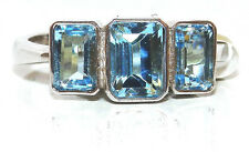 Silver Baguete Aqua Blue Topaz 3 stone Eternity Ring - Size O 3.5g