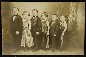 1920s Rubin & Cherry Lilliputians Midget Circus Performers RPPC Photo Carnival
