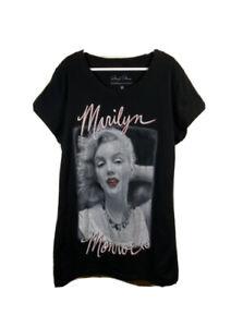 Marilyn Monroe Black T-Shirt Red Lips Size M Medium Tshirt Tee Womens