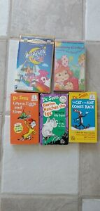 Lot 5 VHS Green Eggs and Ham, Horton, Cat in the Hat, Strawberry Shortcake, Care