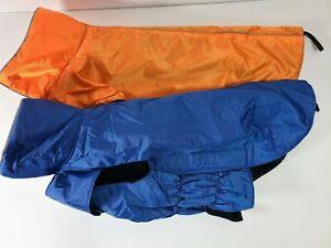 2 PCS Dog Jacket. Wind &Water-resistant, Easy Put-On -Size L(12 lb) -Red,Orange