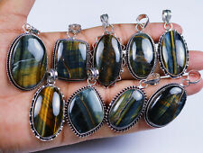 Exclusive Hot Sale Natural Multi Tiger's Eye Gemstone Silver Plated Pendants