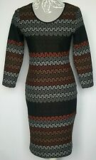 My Collection Dress UK 10 Black Brown Gray Bodycon Stretchy Knee Length Stripe