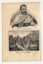 Hundsgrotte-Grotta del Cane-Neapel-Albrecht von Brandenburg-Portrait-Litho 1840