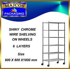 6 Tier Heavy Duty Chrome Wire Shelving on Wheels size 900 x 600 x 1800 mm