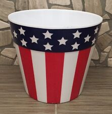 "STARS N STRIPES 4TH OF JULY Melamine Pot container 4 1/2""H X 5""Opening"