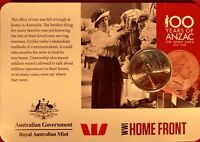 2015 anzacs remembered 20 Cent Australian Decimal Coin HOME FRONT WW1