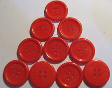 10 x Large RED 4-Hole Plastic Buttons approx. 25mm Wide (SB4E)