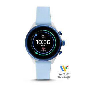 Fossil Sport Touchscreen HR GPS Light Blue Silicone SmartWatch 41mm FTW6026