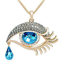 Fashion Crystal Oval Tear Drop Bead Eye Shape Design Pendant Link Necklace