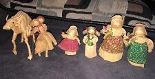 Lot of 6 Antique Vintage Detailed Corn Husk Dolls Primitive Folk Art Rare