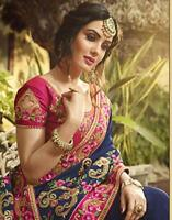 Bollywood Indian Rangoli Silk Saree Designer Sari Pakistani Party wear Sari Suit