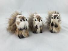 3 Hand Made Chipmunk Squirrel Miniature Real Fur Animal Toy plush figurine *