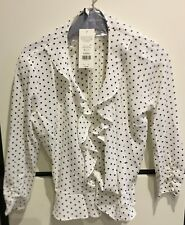 Miss Selfridge Button Down Tie Sleeve Polka Dot Blouse Size 10 RRP £28
