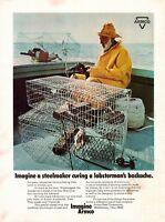 1970 Armco Steel Lobsterman Lobster Man Cages Vintage Color Photo Print Ad