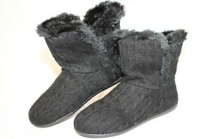 Vionic Kari Womens 9 41 W Wide Black Knit Plush Booties Slippers Ankle Boots