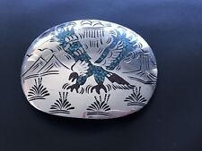 Sterling Silver Native American Turquoise Coral Chip Inlay Nezzie Belt Buckle 51