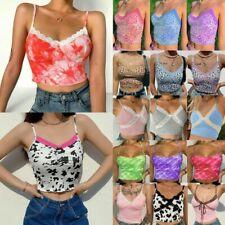 Summer Women Lace V Neck Tank Top Vest Sleeveless Cami Crop Top T-shirt Blouse