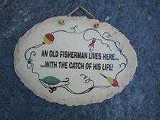 FISHERMAN Fishing Sign Saying Original Painting on Slate by Plain Jane FUNNY