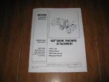 "Craftsman 40"" Snow Thrower Attach. Manual No 842.24071"