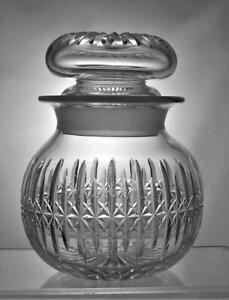 Rare Vintage Thomas Webb Lead Crystal Cut Glass Storage Jar Signed Great Gift