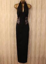 Karen Millen Black Tailored Lace Cocktail Pencil Party Maxi Dress DZ178 UK 10 38