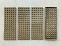 Lego:Lot de 4 Plaques Plate/Platen Dims:6x16 Beige/DkTan réf:3027   Set:8877
