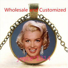 Marilyn Monroe Cabochon bronze Glass Chain Pendant Necklace TS-4893