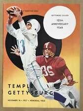 TEMPLE UNIV @ GETTYSBURG COLLEGE FOOTBALL PROGRAMS  1957 EX