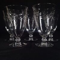 4 Etched Crystal Drinking Glasses Continous Wheat Vine