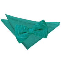 Teal Mens Bow Tie Hanky Set Knit Knitted Plain Casual Pre-Tied Bowtie by DQT