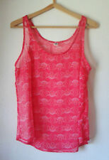 OLD NAVY Sheer Sleeveless TOP Little Flowers On Hot Pink, Crepe-Like, Size Large