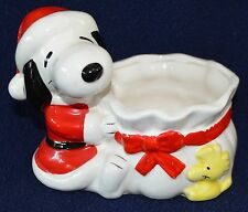 Vintage Japan Peanuts Snoopy Woodstock Christmas Santa Bag ceramic planter 1972