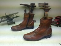 DISTRESSED VINTAGE BROWN MADE IN USA ZIP UP BEATLE BUSINESS BOOTS SIZE 9 C