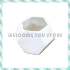 Modern Geometric Vase White Ceramic Decor Contemporary Flower Decorative Large