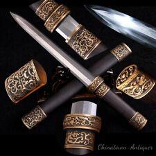 Short sword Multiple-refined Folded Pattern Steel Blade Clay Tempered Sharp#2284
