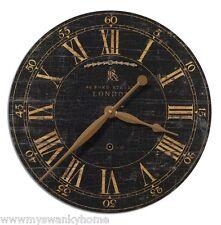 London Round Brass European Wall Clock | Black Crackled Face