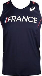 Asics Pro Elite France Mens Running Vest - Navy