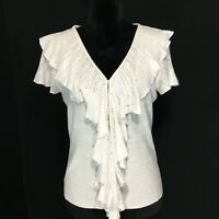 Ralph Lauren Cardigan Med 100% Linen Knit Top White Ruffle Tiny Snap Front
