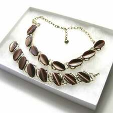 1950s Brown Thermoset Necklace & Bracelet Set - Vintage Demi-Parure