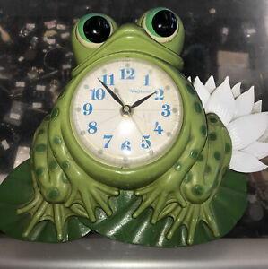 Vintage New Haven Frog Clock Electric Wall Plaque Retro Used WORKS! 🌸So Cute🌸