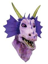 Purple Dragon Mask Moving Mouth Animal Fancy Dress Halloween Costume Accessory