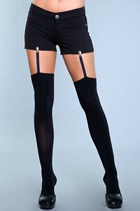 sexy BE WICKED opaque GARTERS straps CLIPS thigh HIGHS stockings TIGHTS hosiery