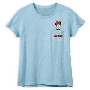 Disney Shirts - Minnie Mouse Pocket T-Shirt for Women - Light Blue - New