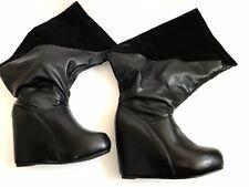 Damen Stiefel Lady Gaga Style Wedges Gr.40 schwarz - Ausgefallen Keilabsatz